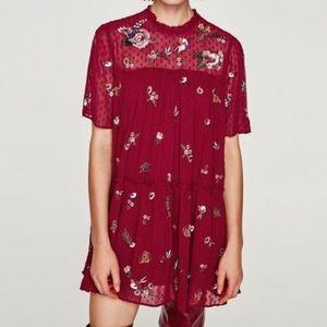 Zara Burgundy Embroidered Dress